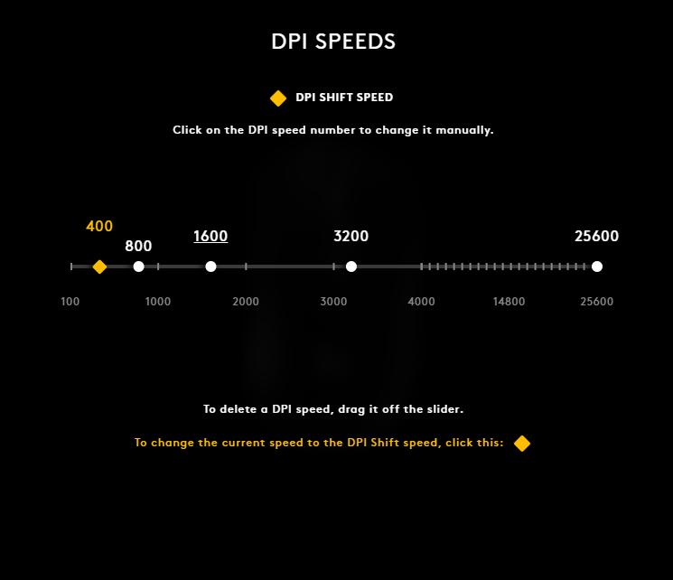 Screenshot of DPI Speed Adjustments for G403 Hero in Logitech G Hub Software