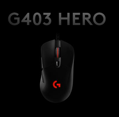 Screenshot of Logitech G403 Hero on Logitech G Hub Software Homescreen