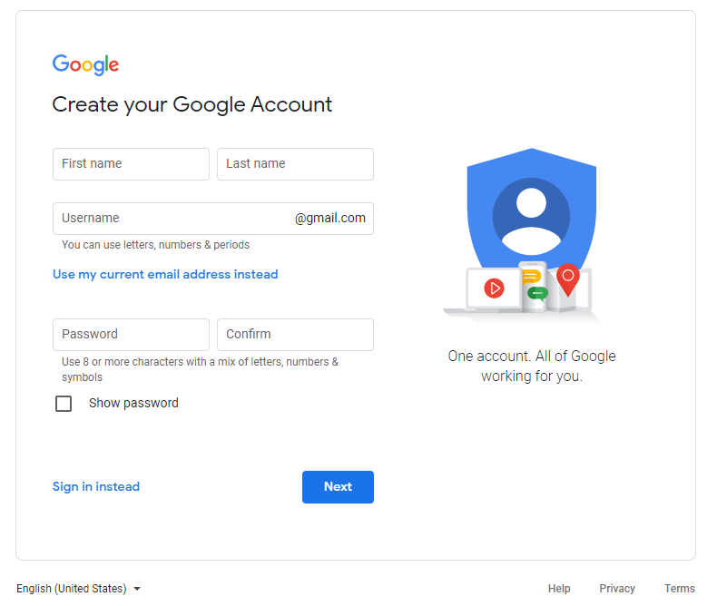 Account Creation Page for Google - Staying Connected