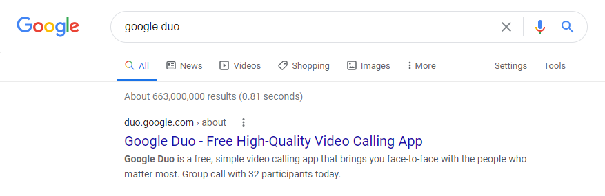Google Duo on Google Search - Staying Connected